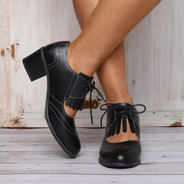 Pu All Season Lace-Up Chunky Heel Daily Loafers Artificial Leather Booties