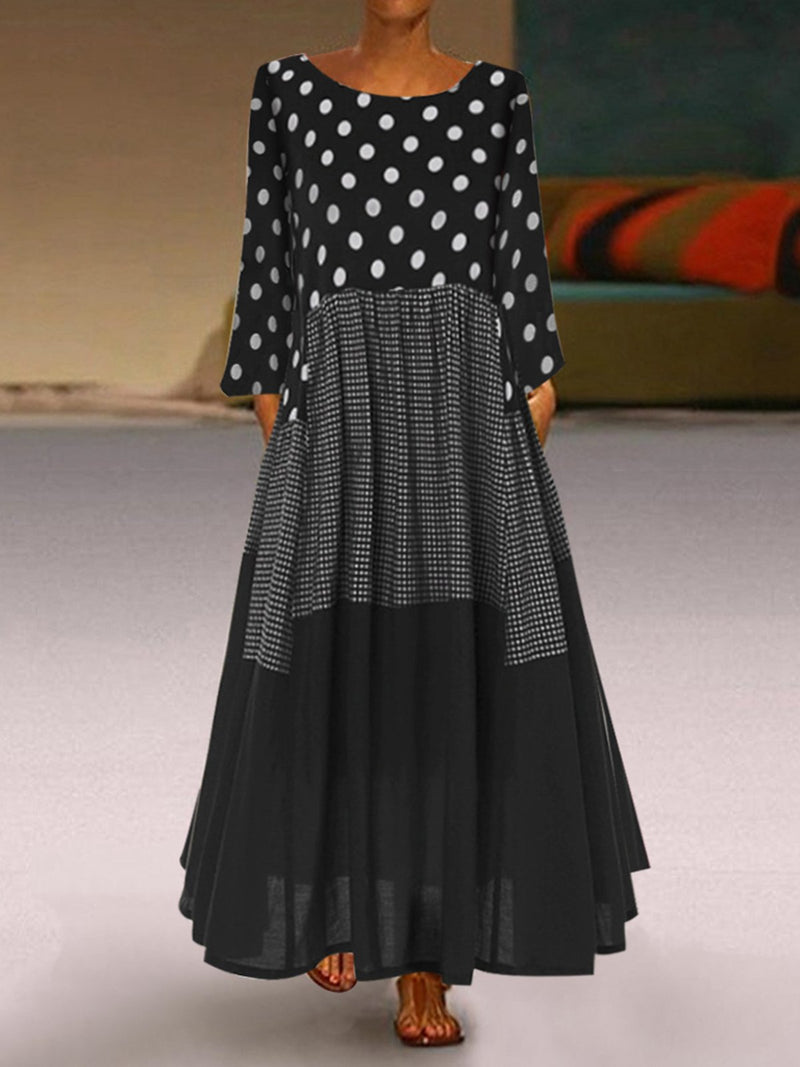 Casual Long Sleeve Shift Polka Dots Dresses