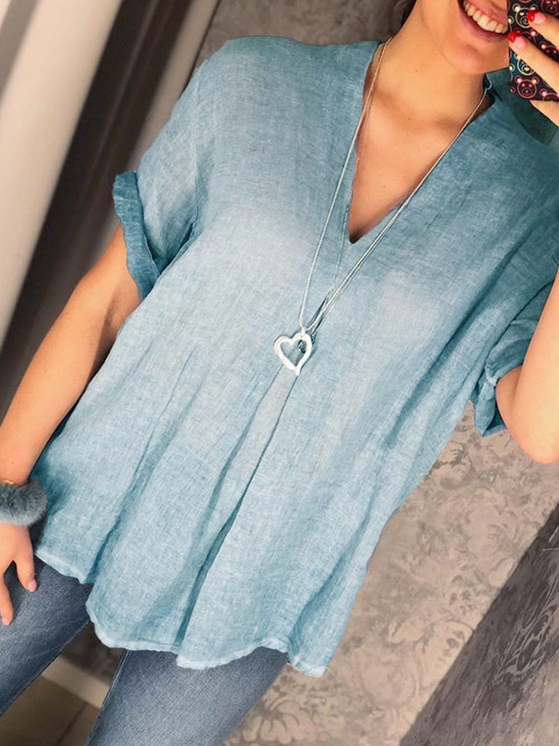 Women V Neck Linen Tunic