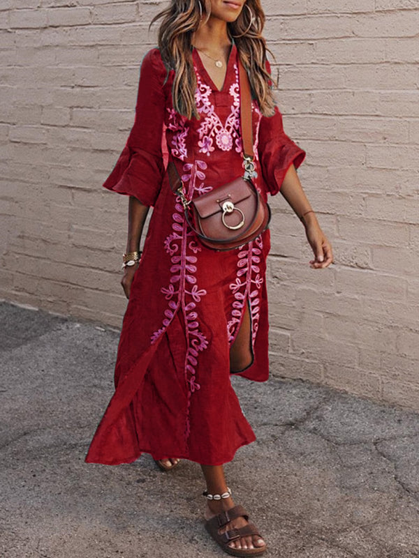 Women Summer Boho Maxi Dress Vintage Embroidery Floral Vacation Dress