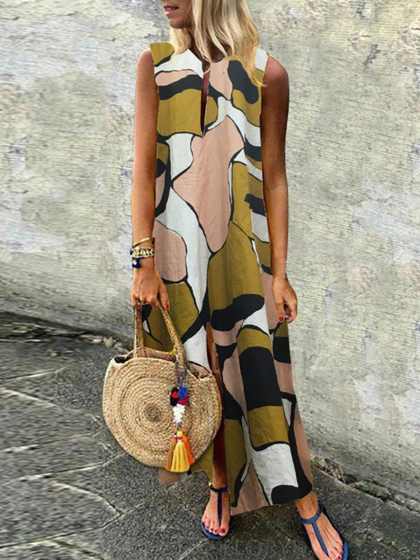 Green Printed V Neck Sleeveless Holiday Maxi Dress