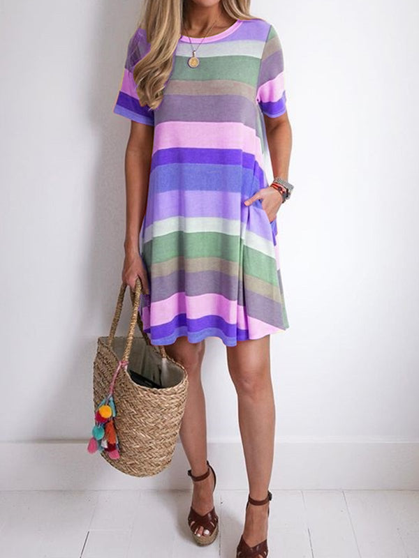 Women Casual Striped Tunic Midi Dress