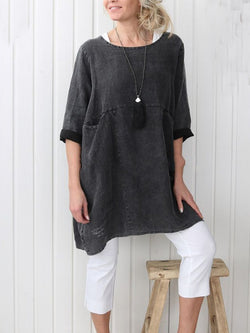 Asymmetrical Crew Neck Cotton-Blend Simple & Basic Shirts & Tops