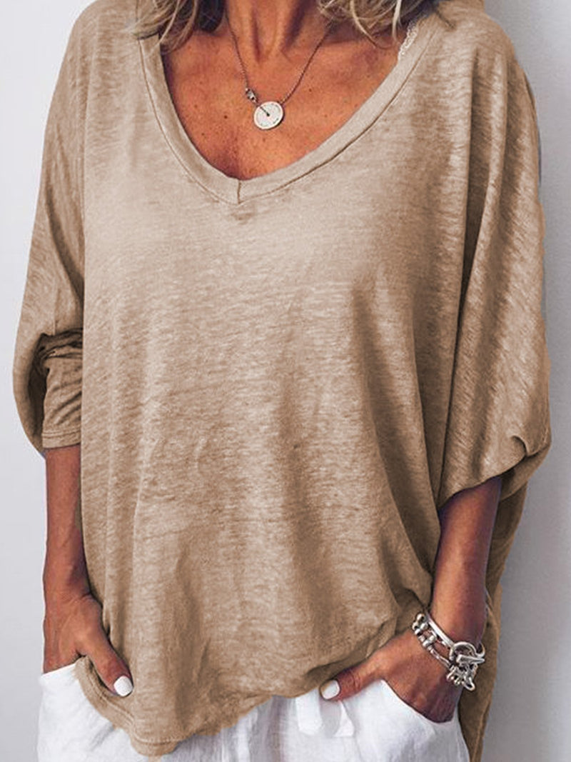Women Long Sleeves V Neck  Loose-Ness Fit Shirt Top Tunic