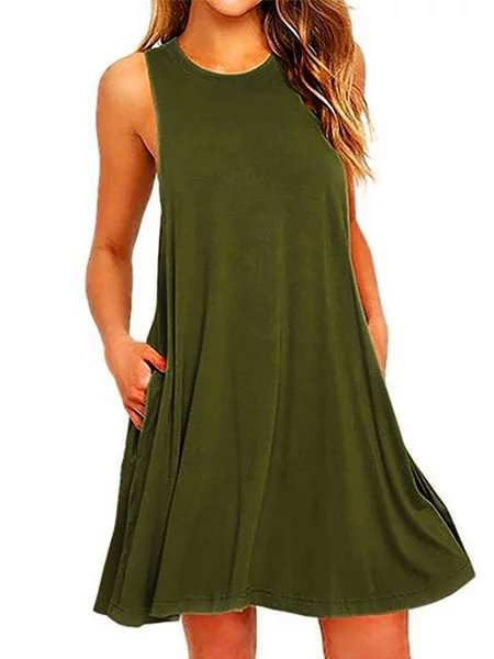 Cotton-Blend Casual Dress