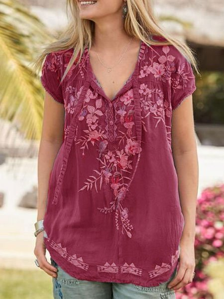 Boho Short Sleeve Blouse