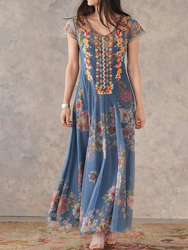 Blue Embroidered Sweet Floral Boho Maxi Dresses For Women