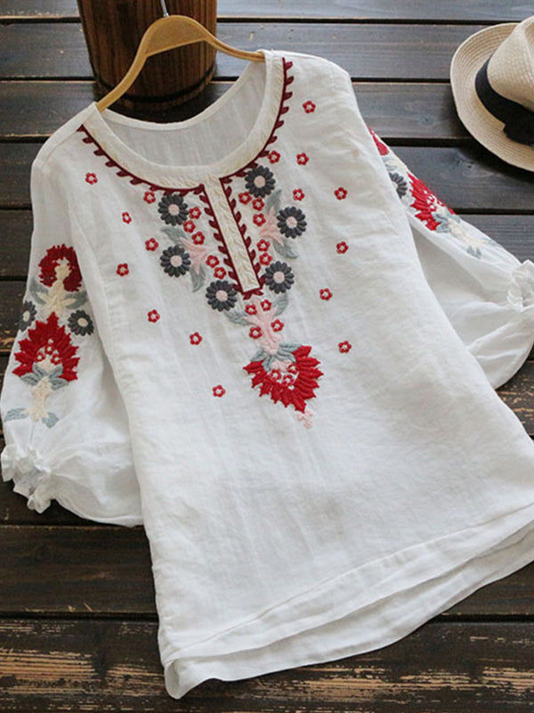 Embroidered Cotton-Blend Shirts & Tops
