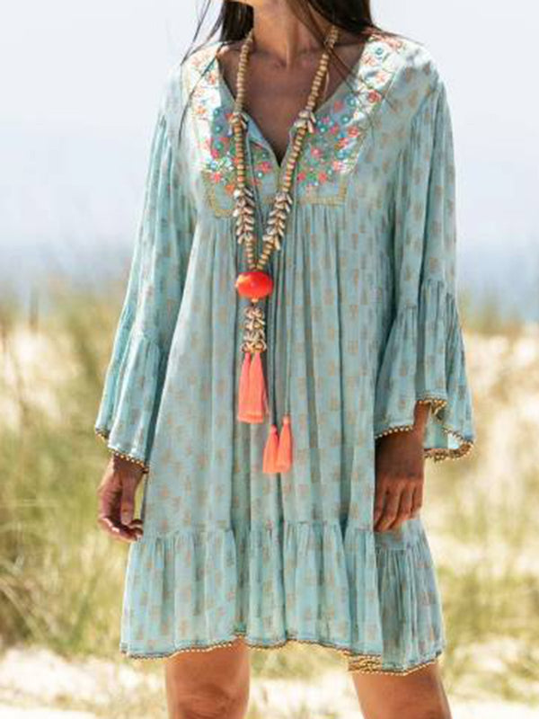 Women Summer Boho Dress Plus Size  Holiday Cotton Floral Dresses