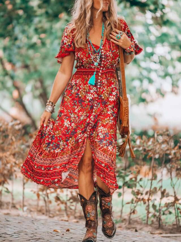 Floral short  sleeve v neck boho holiday maxi dresses