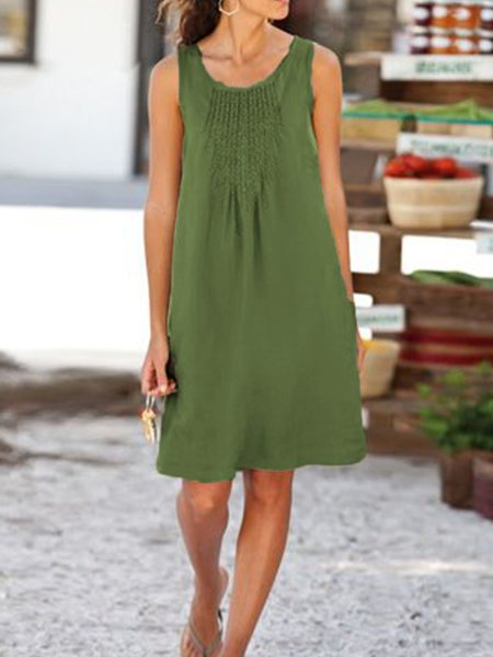 Casual Linen Sleeveless U-Neck Dresss