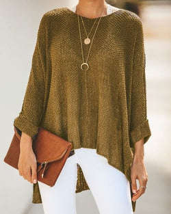 Knitted High Low Casual Tops