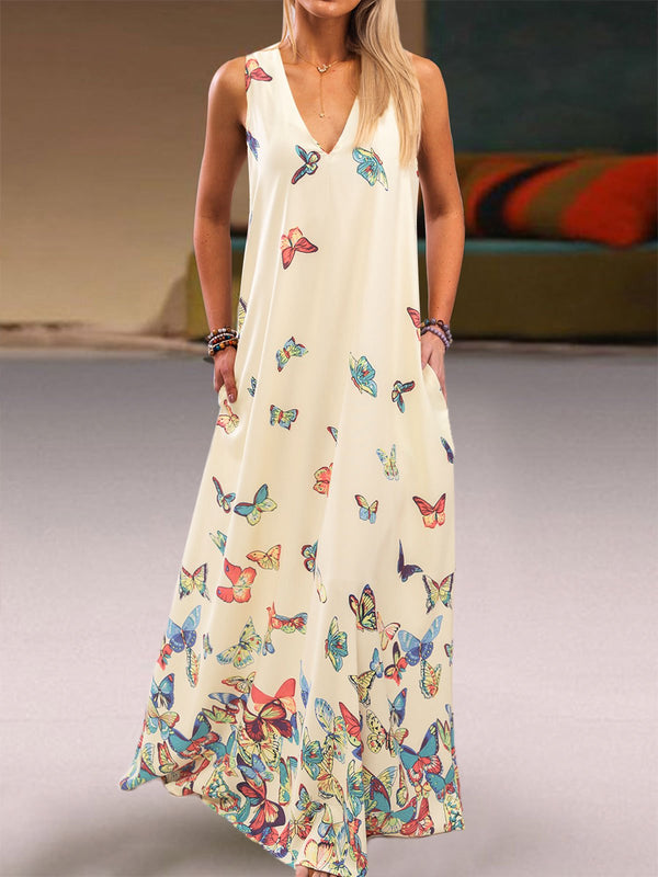 Butterfly Printed Maxi Dresses V Neck Sleeveless Women Dress
