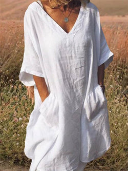 Plus Size Linen White Dress Casual V Neck Half Sleeve Pockets