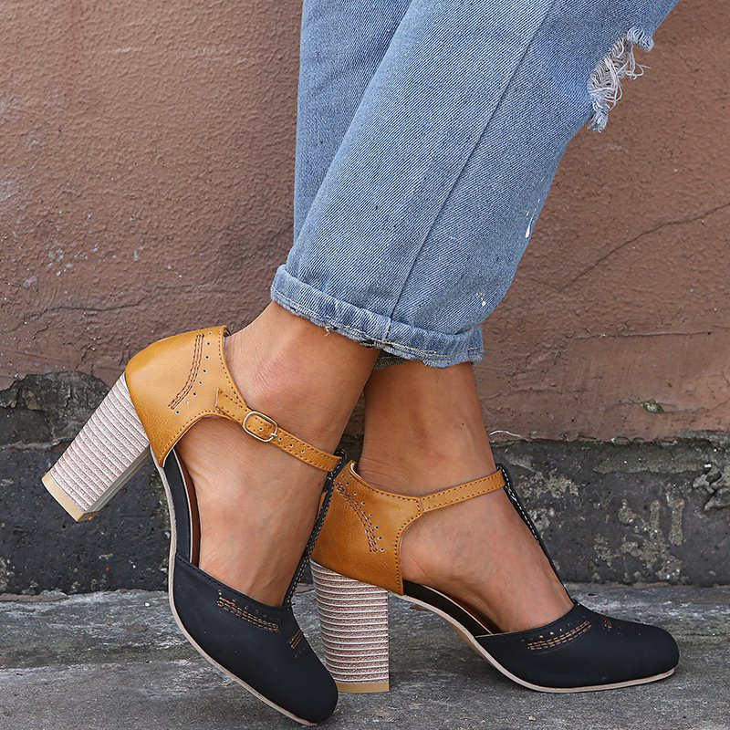 Summer Chunky Heel Pu Shoes