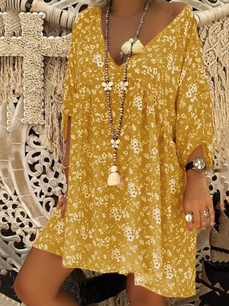 Summer Floral Boho Dress Plus Size Long Sleeve Casual