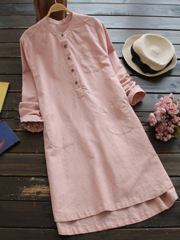 Buttoned Stand Collar Casual Solid Dress