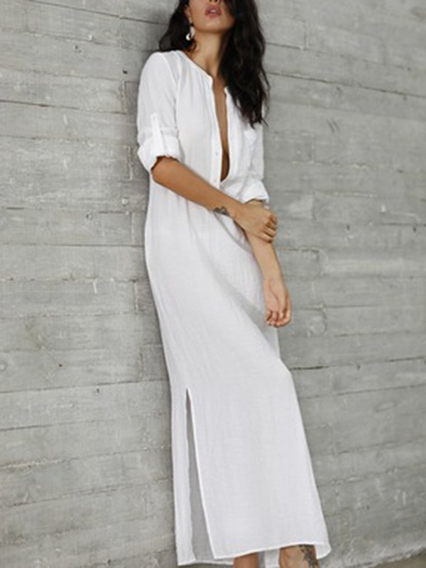 Casual Solid A-Line Long Sleeve Dress