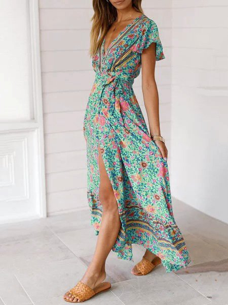 Sexy Holiday Long A-Line Beach Floral Dress