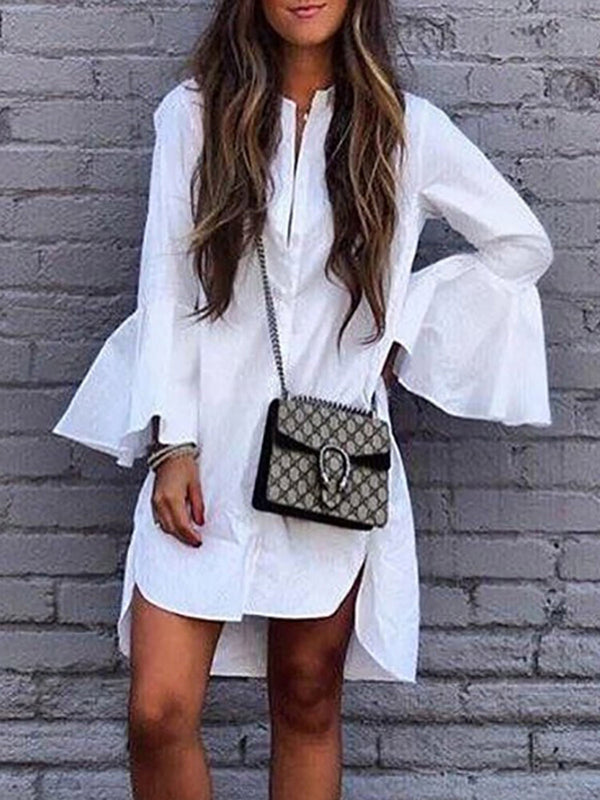 White Bell Sleeve Cotton Dress