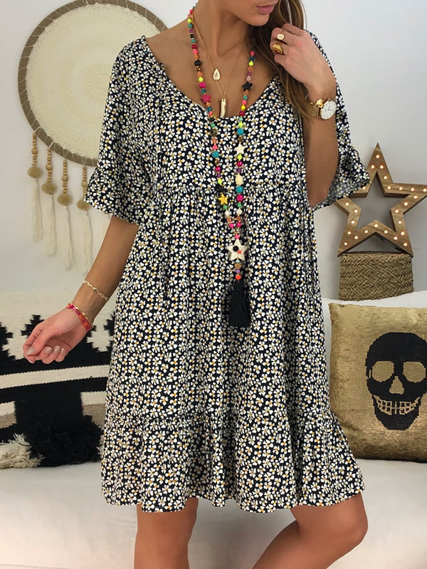 Women Summer Boho Dress Chic Abstract Printed Short Sleeve Dress