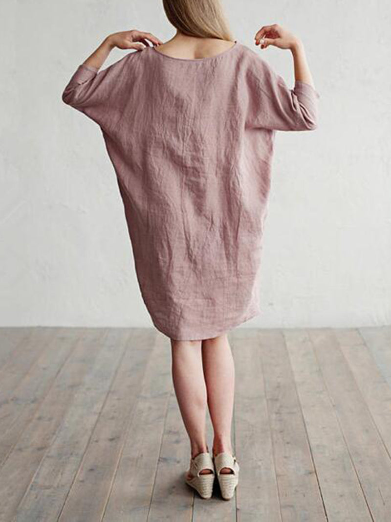 Casual Shift Crew Neck 3/4 Sleeve Solid Dress