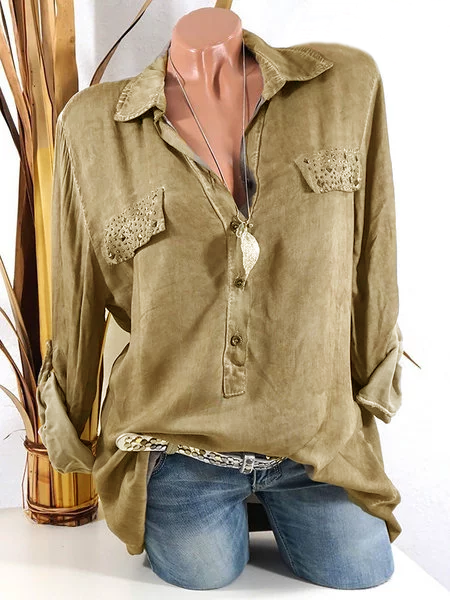 Paneled Shirt Collar Modal Long Sleeve Blouse