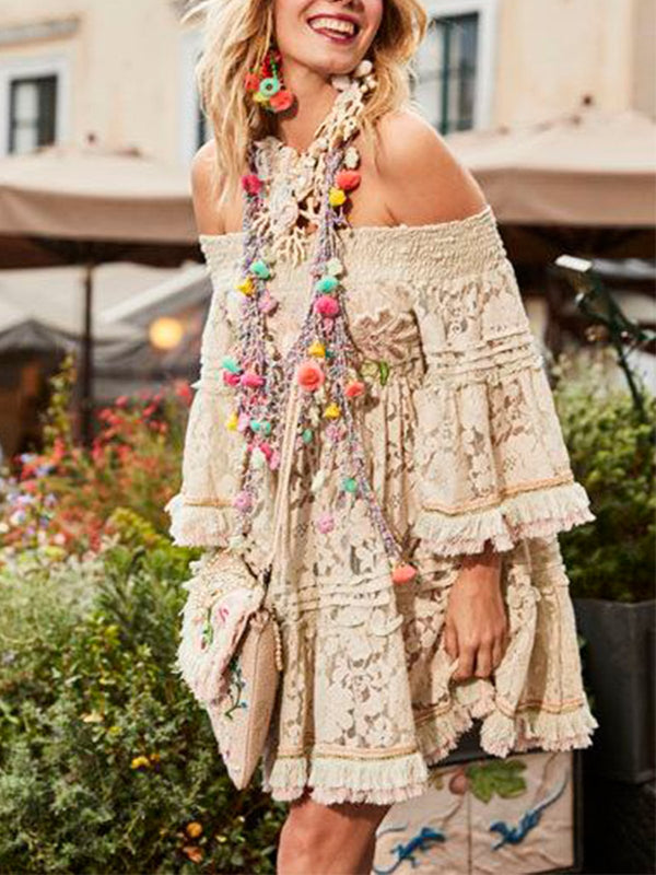 Off Shoulder Tassel Loose Elegant Dress