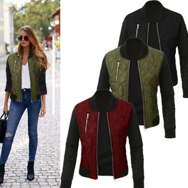 Casual Patchwork Long Sleeve Stand Collar Bomber Jacket Coat