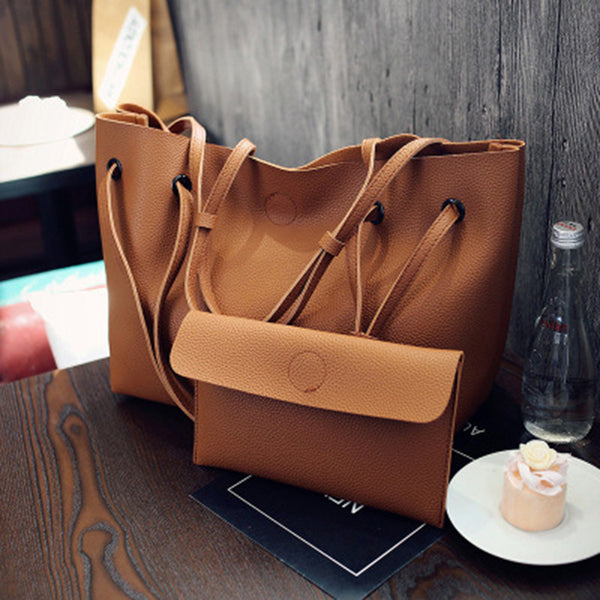 Women 2PCS High Capacity  PU Shoulder Bag with Mini Clutch Purse