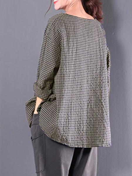 Casual Linen 3/4 Sleeve Gingham Linen Plus Size Blouse