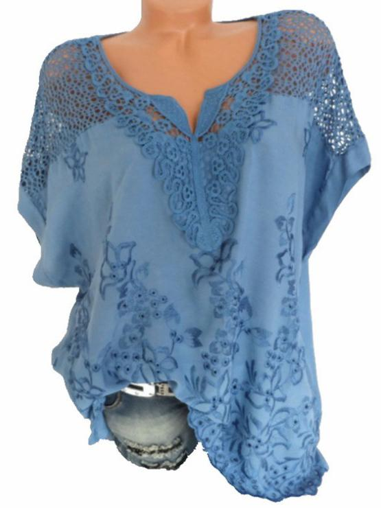 Short Sleeve Casual V Neck Shirts & Tops