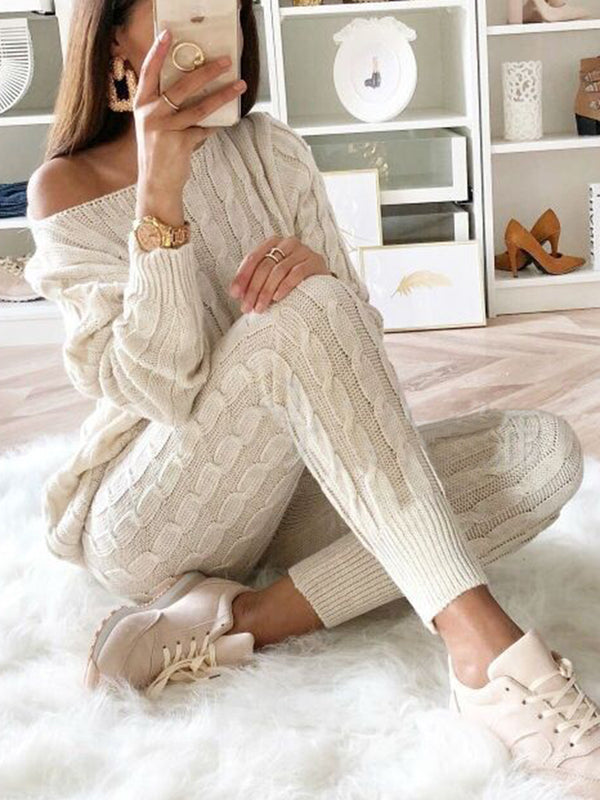 Casual Long Sleeve Crew Neck Sweater Two Piece Sets