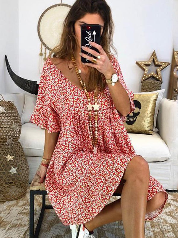 Women Summer Floral Printed Bohemian Dress Short Sleeve Vintage Dresses
