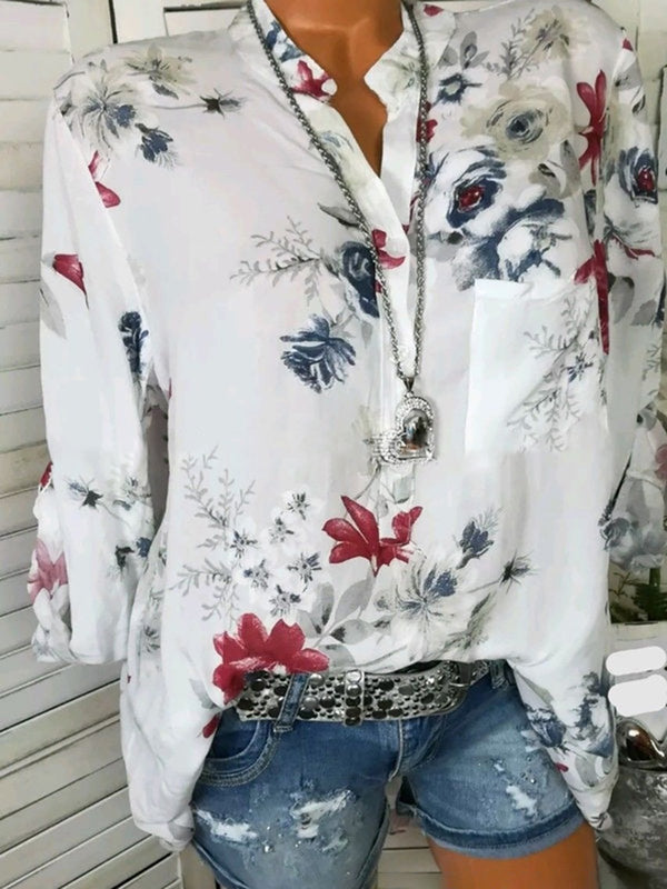Long Sleeve V Neck  Leaf Printed Casual Plus Size Blouse