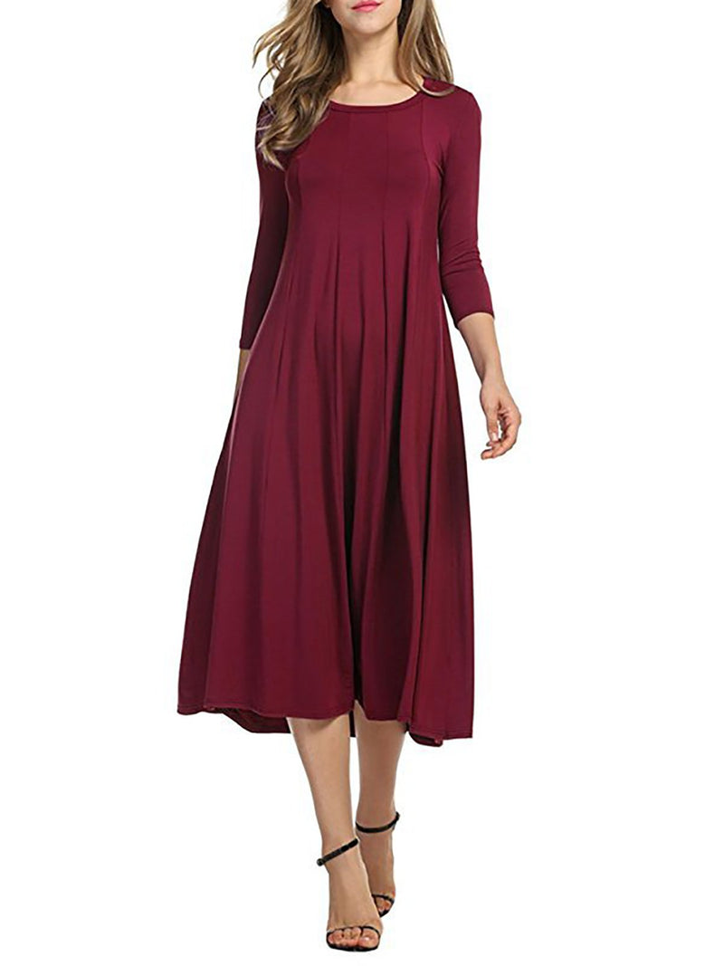 Crew Neck 3/4 Sleeve Solid Basic Folds A-line Casual Dress