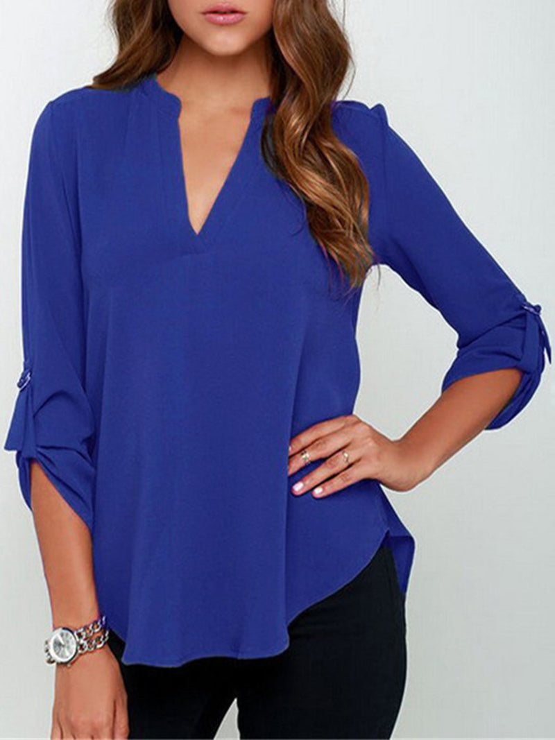 Plus Size 3/4 Sleeve Casual Buttoned V Neck Solid Blouse