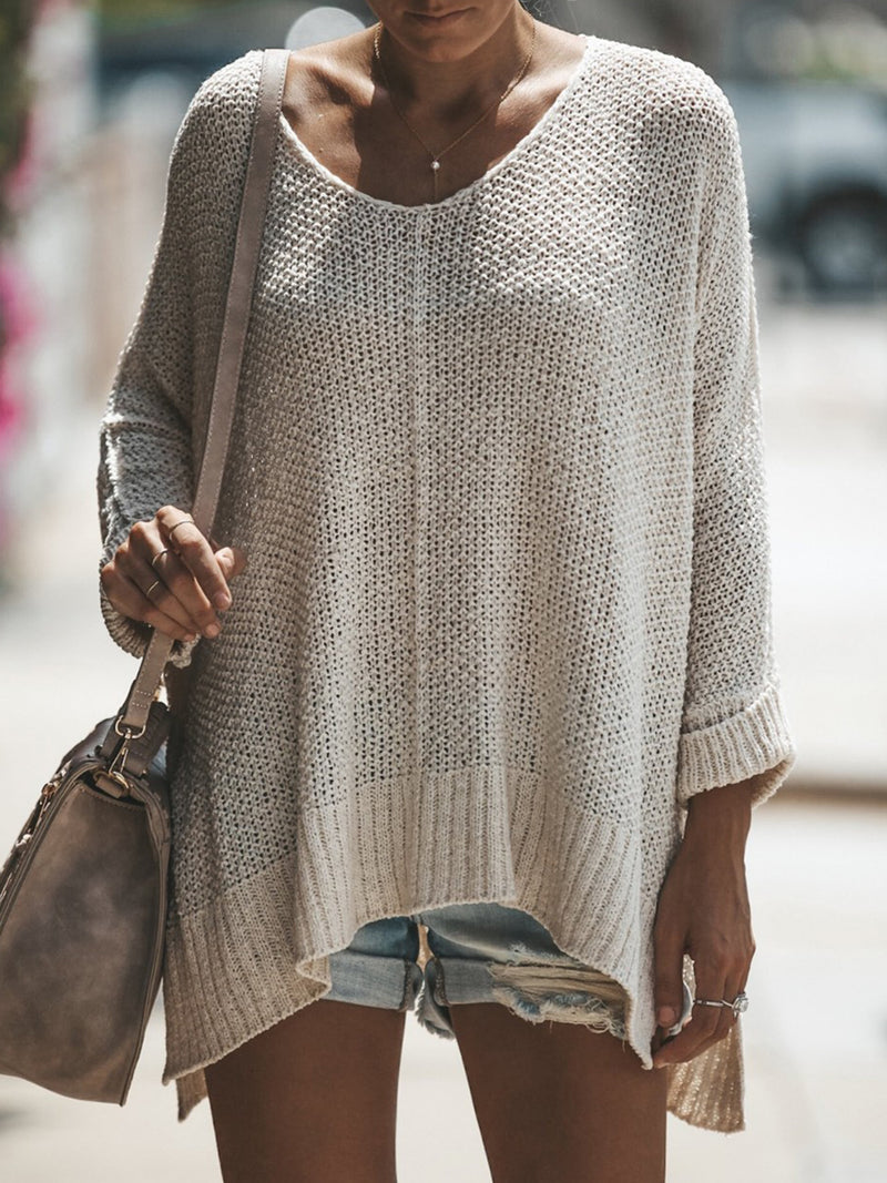 Casual Long Sleeve High Low Solid Sweater