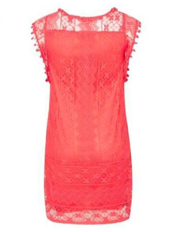 Plus Size Crew Neck Women Dress A-line Lace Sleeveless Boho Dress