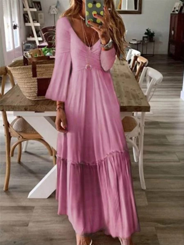 Vintage Printed V-neck Long Sleeve Maxi Dress