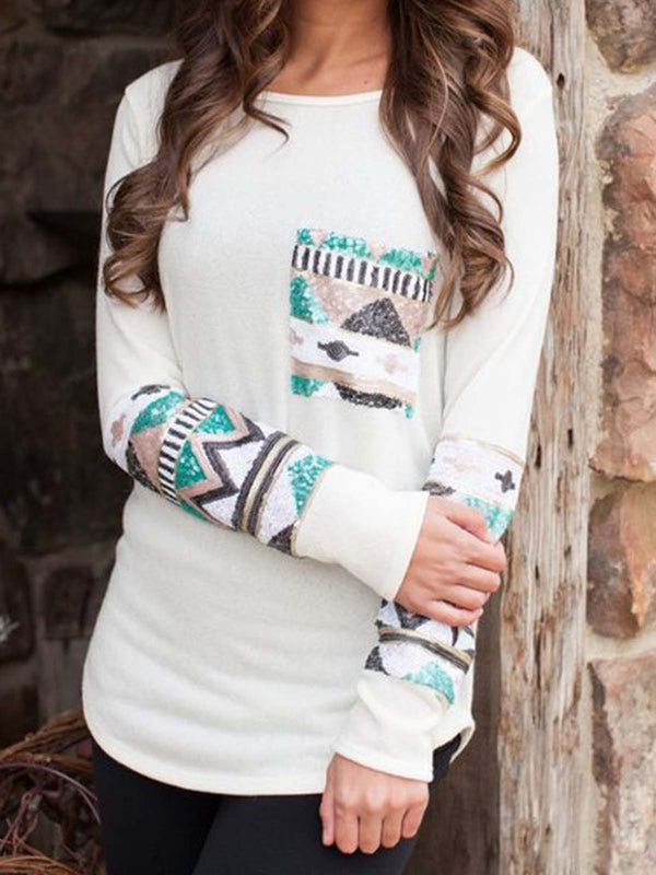 Plus Size Cotton Floral-Print Tribal Long Sleeve Shirts & Tops