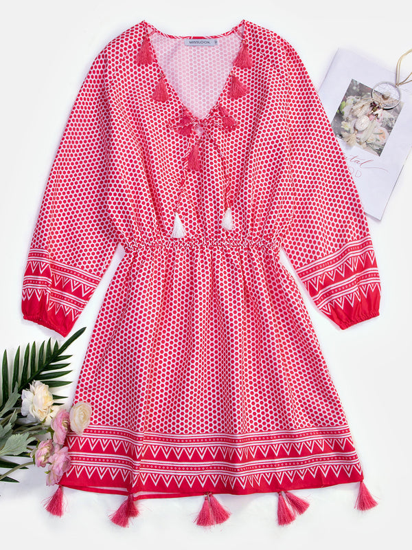 Summer V Neck 3/4 Sleeves Tassel-tie Boho Dresses