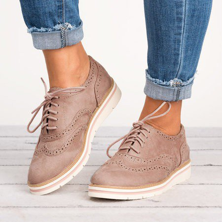 Women's Lace Up Perforated Oxfords Shoes