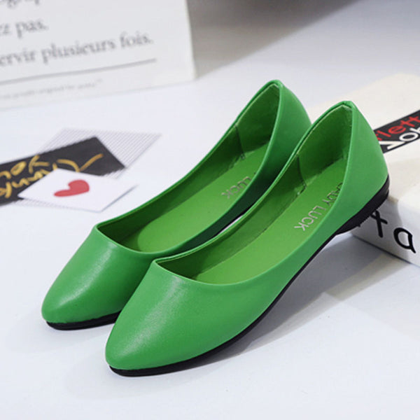Casual Round Toe Flat Heel Slip On Leather Shoes