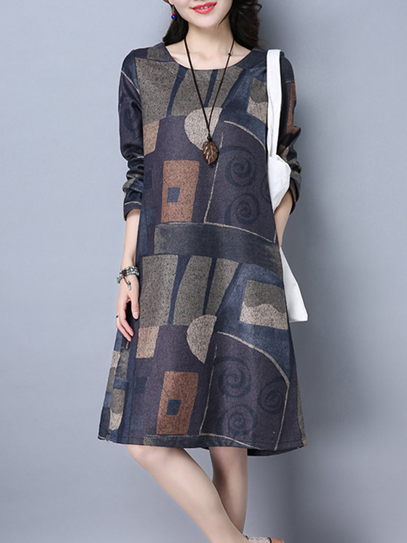 Abstract Casual Long Sleeve Printed Dress