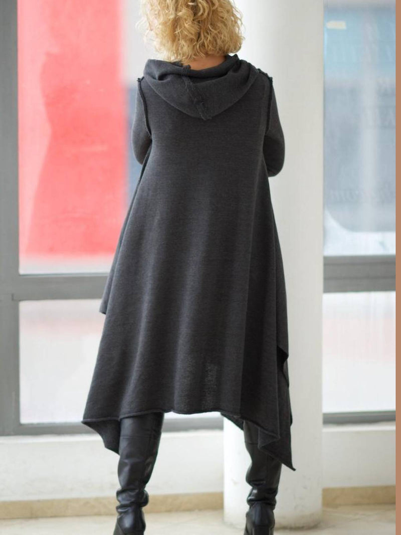 Cotton Casual Plain Hoodie Dresses