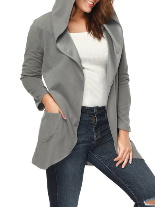 Long Sleeve Hoodie Casual Pockets Plus Size Coat