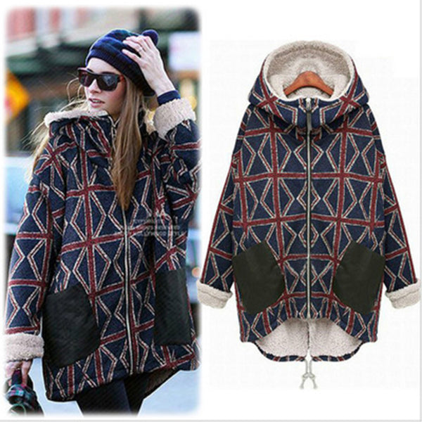 Oversize Cocoon Pockets Printed Long Sleeve Hoodie Parka Coat