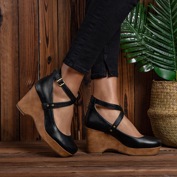 Chunky Heel Daily Artificial Leather Shoes