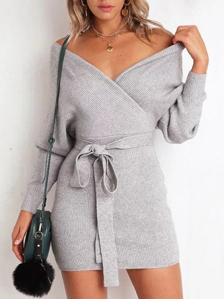 Long Sleeve Casual Sheath V Neck Knitted Sweaters Dress